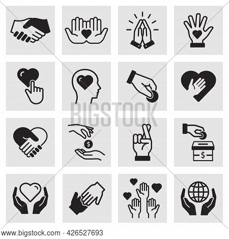 Charity Icon Set. Collection Of Donate, Volunteer, Humanitarian, Hope And More. Vector Illustration.