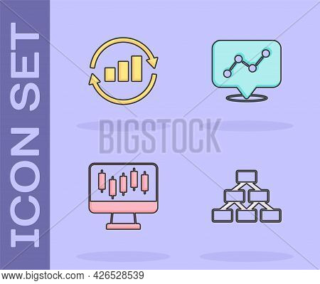 Set Hierarchy Organogram, Graph Chart Infographic, Stocks Market Growth Graphs And Icon. Vector