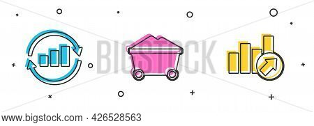 Set Graph Chart Infographic, Coal Mine Trolley And Financial Growth Icon. Vector