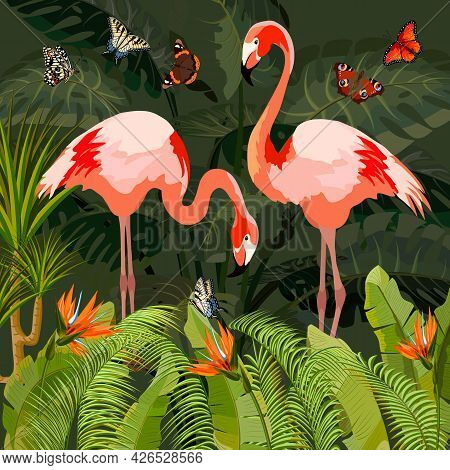 Pink Flamingo In Vector Illustration.flamingos And Tropical Plants In Color Vector Illustration.