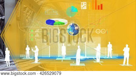 Composition of digital icons, data processing and computer server. global digital interface, technology and networking concept digitally generated image.