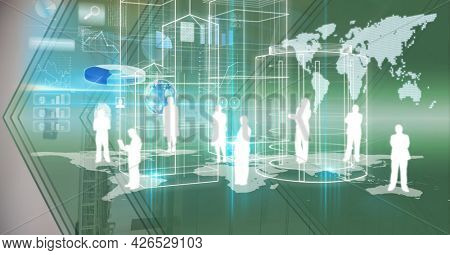 Composition of digital icons, data processing and world map. global digital interface, technology and networking concept digitally generated image.