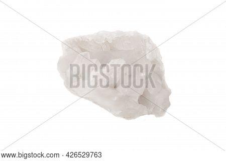 A Clear Quartz Cluster Rock Photographed Against A White Background