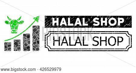 Mosaic Bullish Market Trend United From Rectangle Items, And Black Grunge Halal Shop Rectangle Stamp