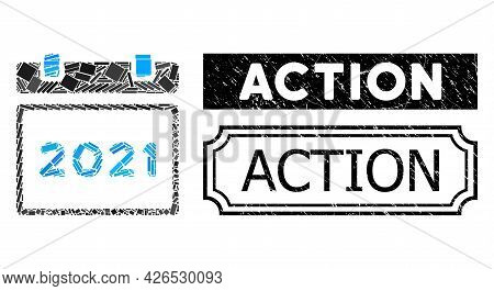 Collage 2021 Calendar United From Rectangle Elements, And Black Grunge Action Rectangle Badge With N