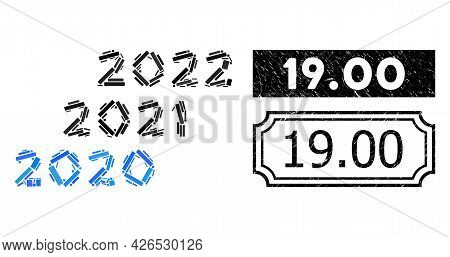Mosaic 2020 - 2022 Years Organized From Rectangle Items, And Black Grunge 19.00 Rectangle Badge With