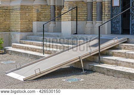 Aluminium Metal Ramp For Wheelchair At Sinagogue Entrance