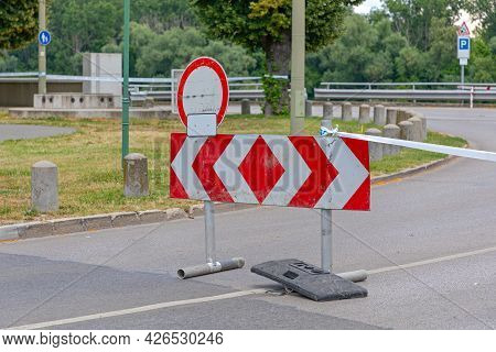 Barrier Sign At Middle Of Street Temporary Road Closure