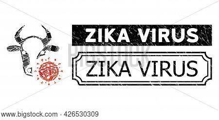 Collage Cow Coronavirus Constructed From Rectangular Parts, And Black Grunge Zika Virus Rectangle St