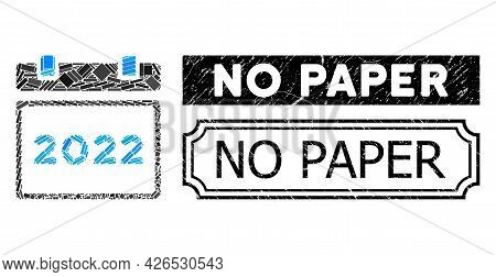 Collage 2022 Calendar Composed Of Rectangular Parts, And Black Grunge No Paper Rectangle Stamp With
