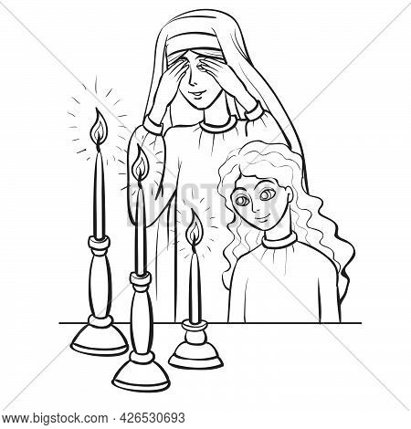 Sketch, Mother And Daughter Say A Prayer Over The Candles, Coloring Book, Isolated Object On White B