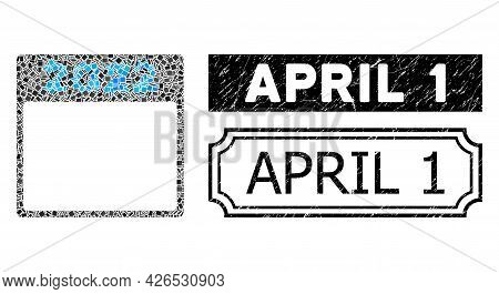 Collage 2022 Calendar Page United From Rectangle Parts, And Black Grunge April 1 Rectangle Seal With