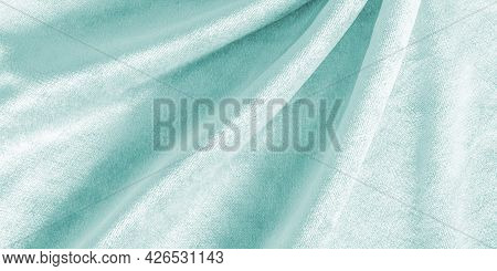 Teal Blue Velvet Background Or Turquoise Green Velour Flannel Texture Made Of Cotton Or Wool With So