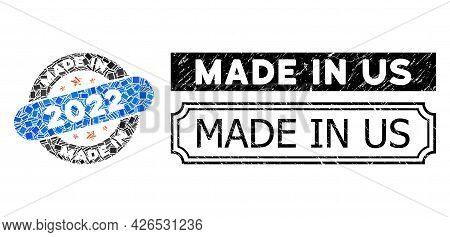 Collage Made In 2022 Stamp Designed From Rectangle Parts, And Black Grunge Made In Us Rectangle Seal
