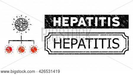 Mosaic Covid Replication Composed Of Rectangle Elements, And Black Grunge Hepatitis Rectangle Badge