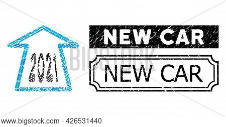 Collage 2021 Ahead Arrow United From Rectangle Items, And Black Grunge New Car Rectangle Seal Stamp