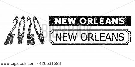 Collage 2020 Perspective Digits Designed From Rectangular Items, And Black Grunge New Orleans Rectan