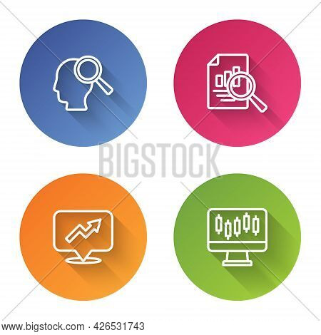 Set Line Search People, Document With Graph Chart, Financial Growth And Stocks Market Graphs. Color