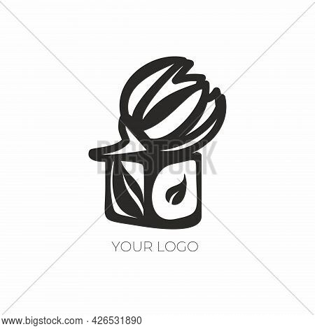 Vector Floral Logo. Sweet Candy Emblem. Logo For A Flower Shop, Cafe, Art Studio, Beauty Salon.