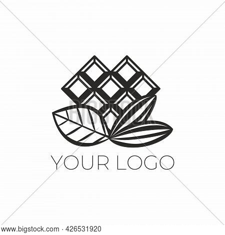 Delicious Sweet Logo With Chocolate Bar. Vector Logo For Chocolatier. Natural Chocolate. Emblem For