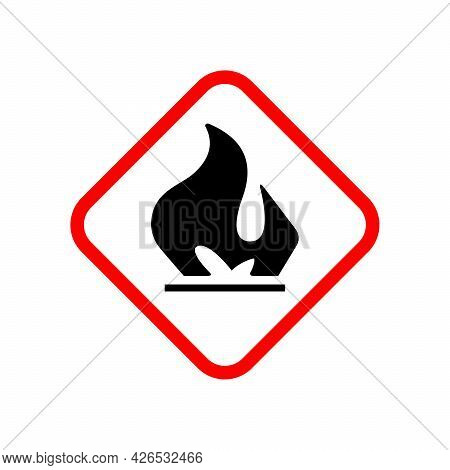 Flammable Material Warning Glyph Symbol Isolated On White