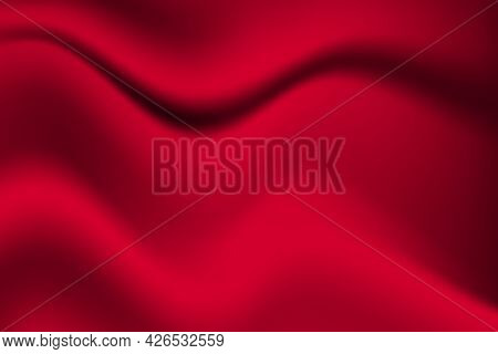 Silk Red Background. Abstract Vector Pattern With Copy Space. Liquid Wave Texture, Smooth Drapery Wa