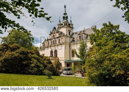 Velke Brezno, Bohemia, Czech Republic, 26 June 2021:  State Chateau With Turret On The Roof, Neo-ren