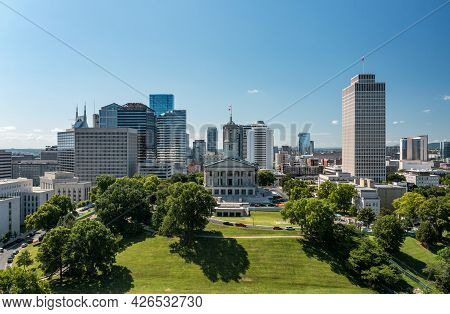 Nashville, Tennessee - 28 June 2021: Aerial Drone View Of The Tennessee State Capitol Building In Na