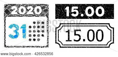 Mosaic Last 2020 Day Designed From Rectangle Items, And Black Grunge 15.00 Rectangle Stamp With Notc