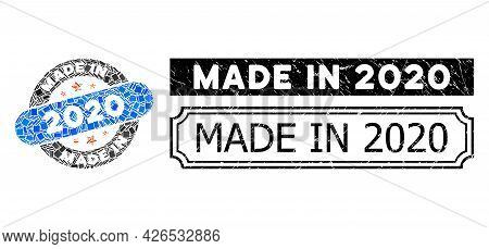 Mosaic Made In 2020 Stamp Organized From Rectangular Items, And Black Grunge Made In 2020 Rectangle