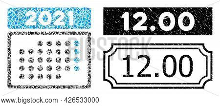 Collage 2021 Month Calendar United From Rectangular Items, And Black Grunge 12.00 Rectangle Stamp Wi