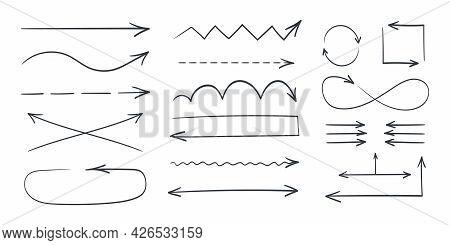 Arrow Icons. Black Thin Hand Drawn Arrows. Drawn Vector Arrows