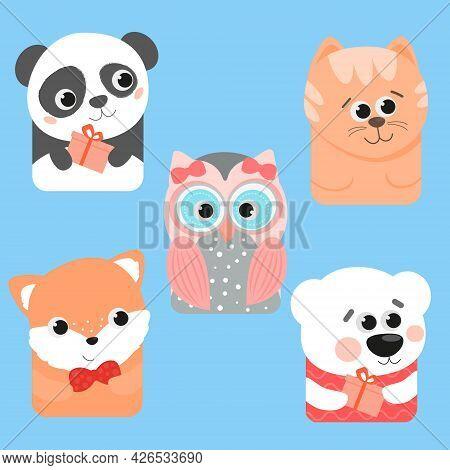 Cute Set For Party. Owl Polar Bear Cat Panda Fox