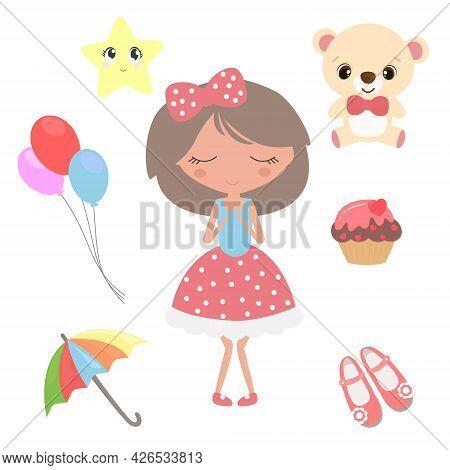 A Cute Cartoon Set Of Items That Girls Want.
