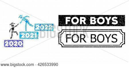 Mosaic 2022 Year Guy Help Designed From Rectangle Elements, And Black Grunge For Boys Rectangle Stam