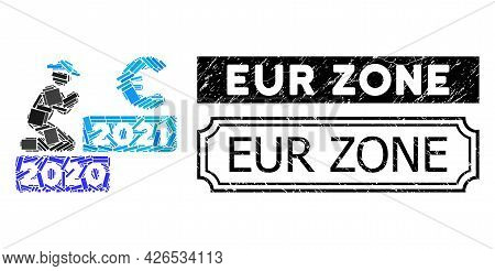 Mosaic Gentleman Pray Euro 2021 Organized From Rectangle Elements, And Black Grunge Eur Zone Rectang