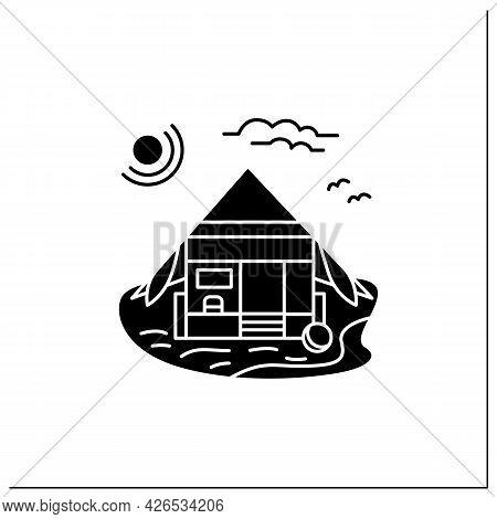 Beach Hut Glyph Icon. Wooden Comfortable House On Beach. Triangle Roof Facade. Seascape. Rest Concep