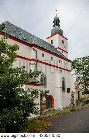 Krasne Brezno, Bohemia, Czech Republic, 26 June 2021:  Saxony Style Renaissance Church Of St. Floria
