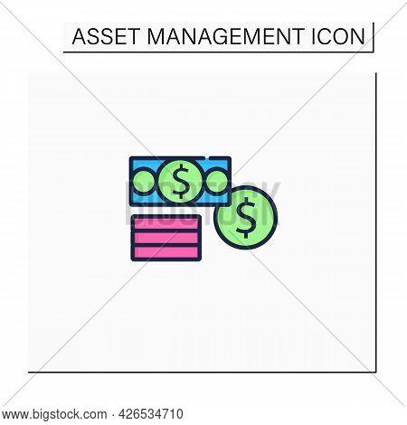 Financial Assets Color Icon. Enterprises Part Assets. Financial Resources. Cash, Securities, Debt.co