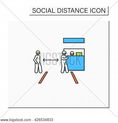 Safe Travelling Color Icon. Social Distance At Passport Or Ticket Control. Worldwide Covid Preventio