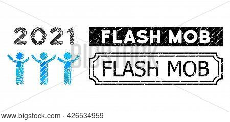 Mosaic 2021 Dancing People Composed Of Rectangle Items, And Black Grunge Flash Mob Rectangle Seal St