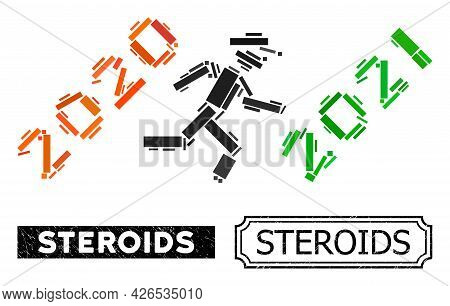Mosaic Gentleman Run To 2021 Constructed From Rectangle Items, And Black Grunge Steroids Rectangle B