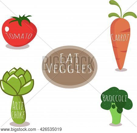 Set Of Cute Vegetables With Titles And The Words \