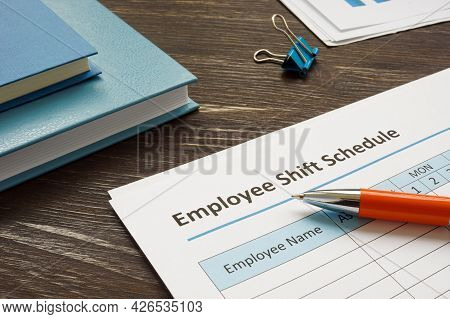 Employee Shift Schedule For Work And Pen.