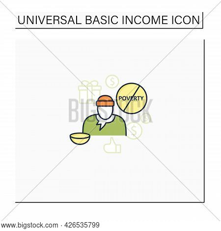 Ending Poverty Color Icon. Rise In Living Standards. Improving Living Conditions. Universal Basic In