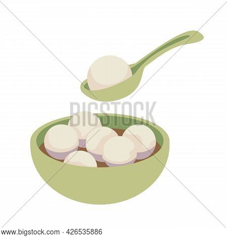 Taiwan Traditional Holiday Food. Tasty Glutinous Rice Balls In A Traditional Green Porcelain Bowl. L