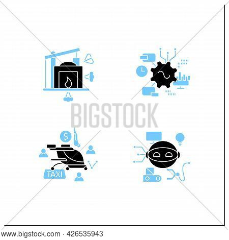 Digital Transformation Glyph Icons Set. Robot, Free Air Taxi, Software, Industry 1.0. Modern Technol