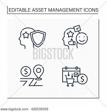 Asset Management Line Icons Set. Financial Resources. Intellectual Property, Accounting Goodwill, As