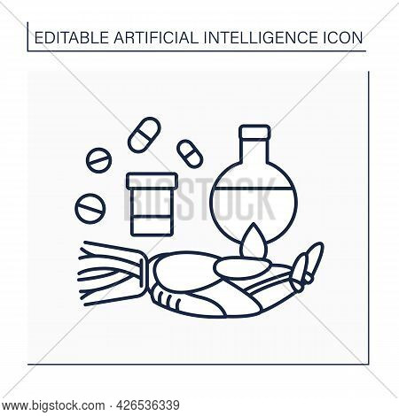 Ai In Pharmacy Line Icon. Digital Technologies In Medicine. Robot Hand Keeps Pills And Flasks. Drugs