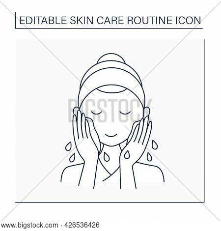 Cleansing Line Icon. Woman Wash Face By Water. Cosmetology. Beauty Procedure. Skin Care Routine Conc